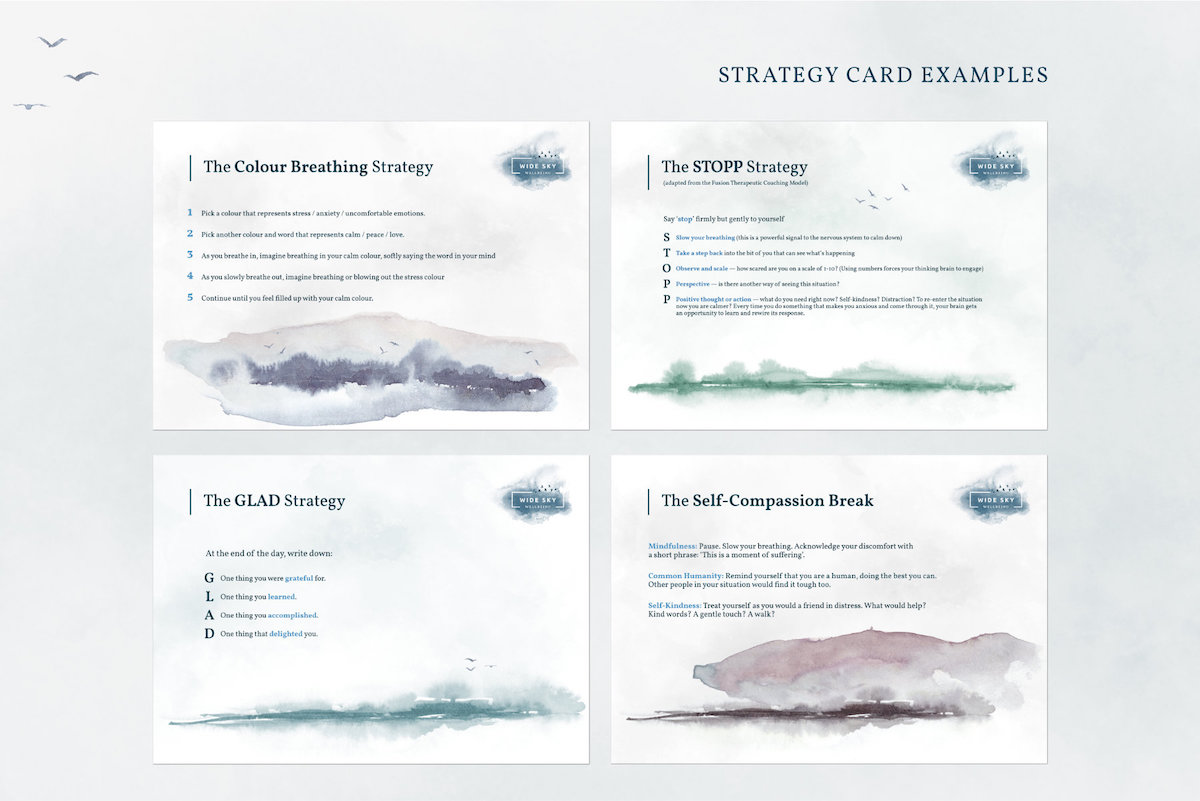 wellbeing coaching strategy cards design