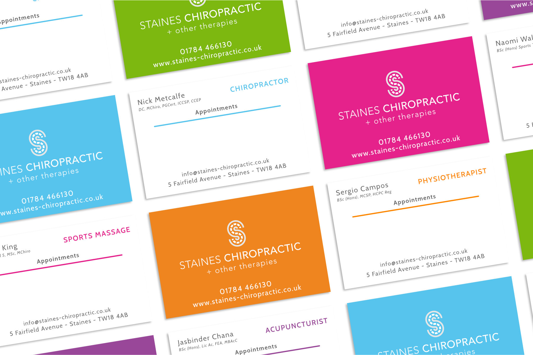Chiropractic clinic business cards design