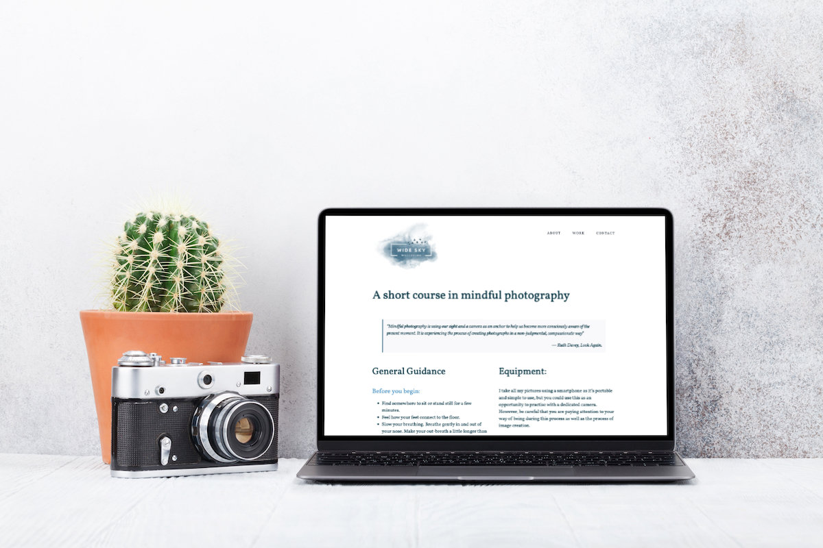 mindful photography course website design
